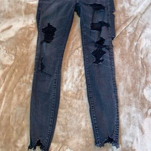 american eagle black washed ripped jean